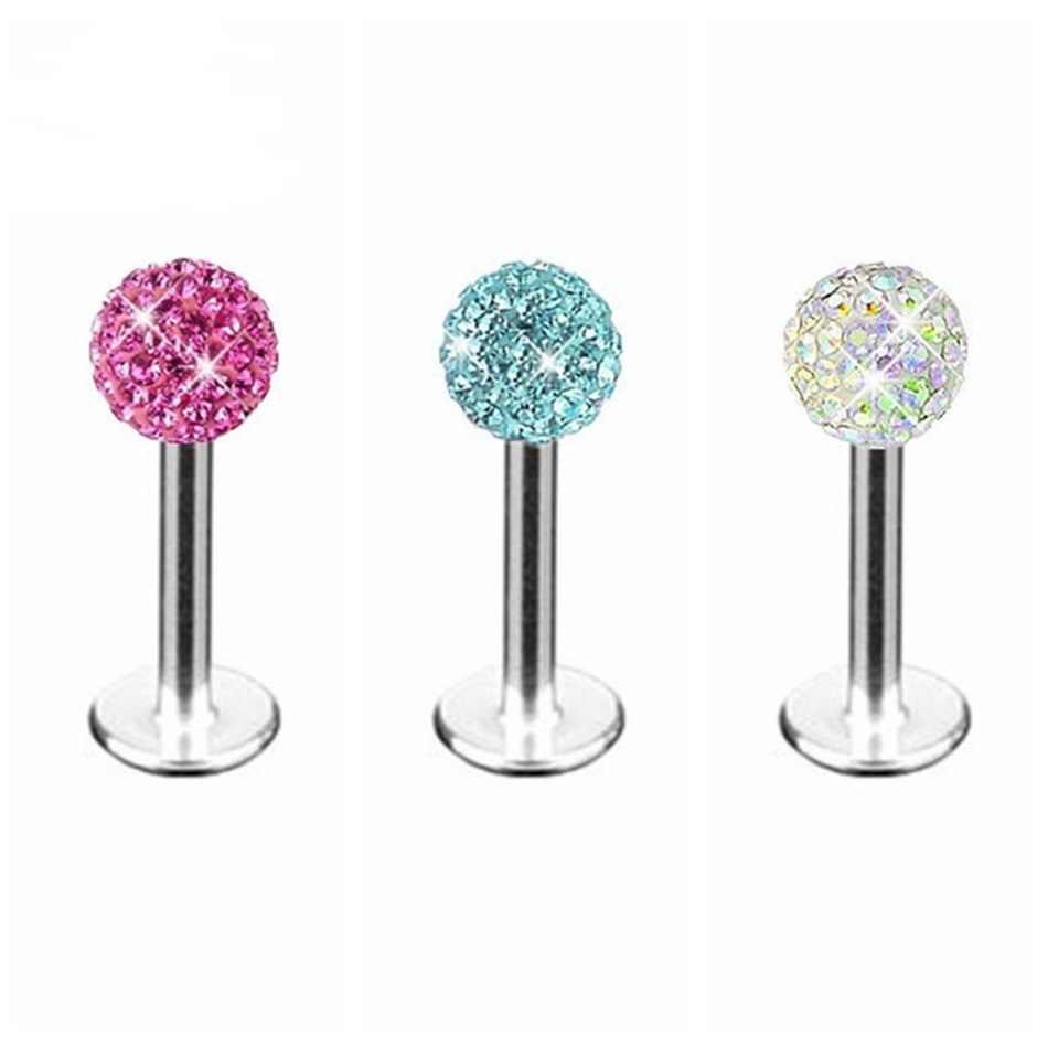 1x4 MILÍMETROS Bola de Cristal de Luxo Em Aço Inoxidável Bar Tragus Brinco Lip Body Piercing Presente 1.2 MILÍMETROS de Espessura promoção Multicolor