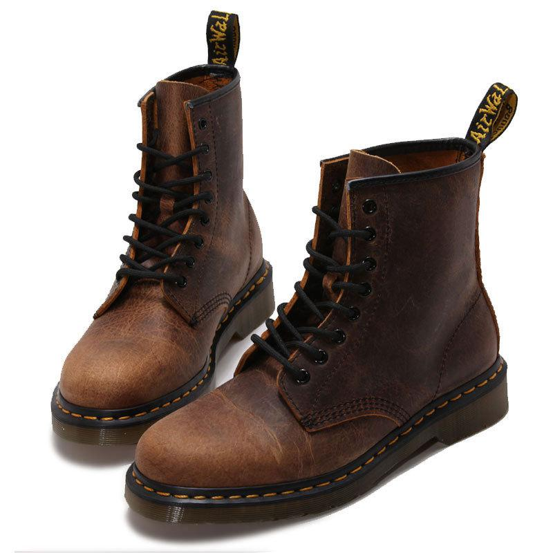 Fashion Retro England Style Genuinr Leather Martin Boots Autumn Winter Casual Ankle Boots with Crack Classical Martin Shoes [krusdan]british style men autumn winter boots solid casual genuine leather retro boots falts brand red wine male ankle boot