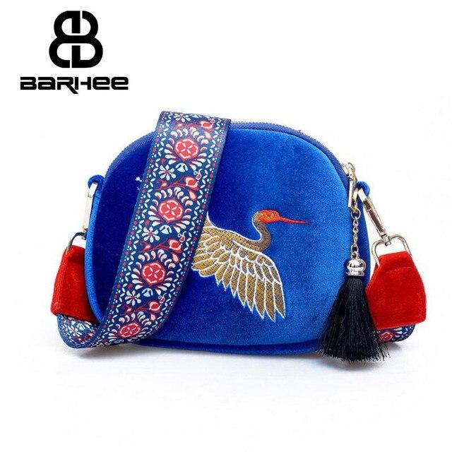 4b6d9b2b11aa BARHEE Vintage Embroidery Women Shoulder Bag Wide Strap Messenger Bag Mini  Shell Crossbody Bag Fabric Blue Small Female Handbag