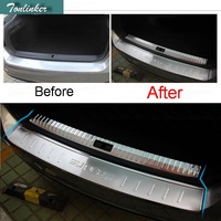 Tonlinker 1 Pcs DIY Car Style New Stainless Steel The Tailgate Pedal Strip With Logo Cover