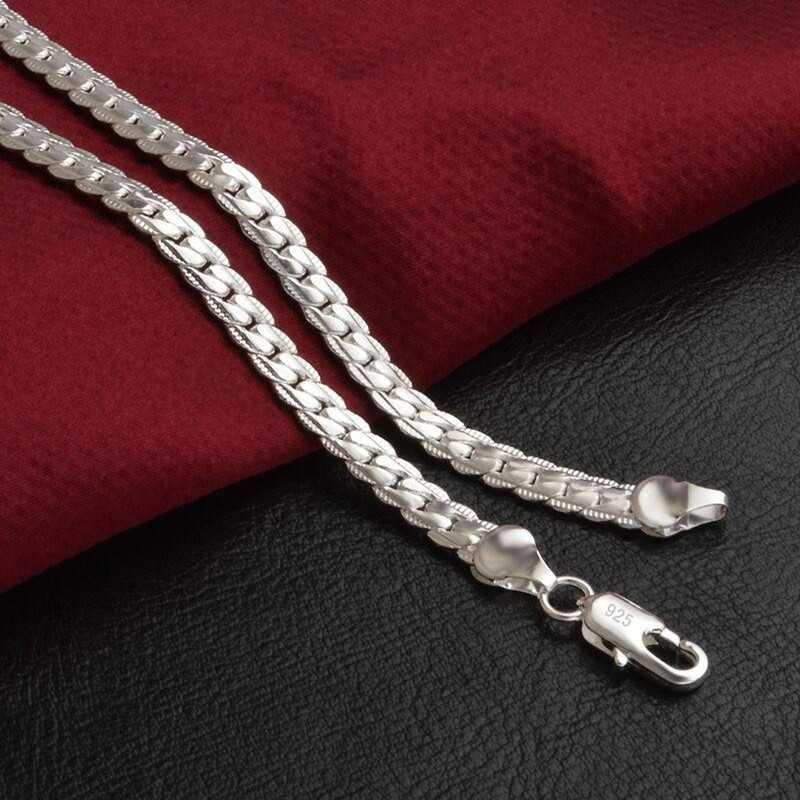5mm moda łańcuch 925 Sterling srebrny naszyjnik wisiorek mężczyźni biżuteria Hot sprzedaż pełna boczny naszyjnik