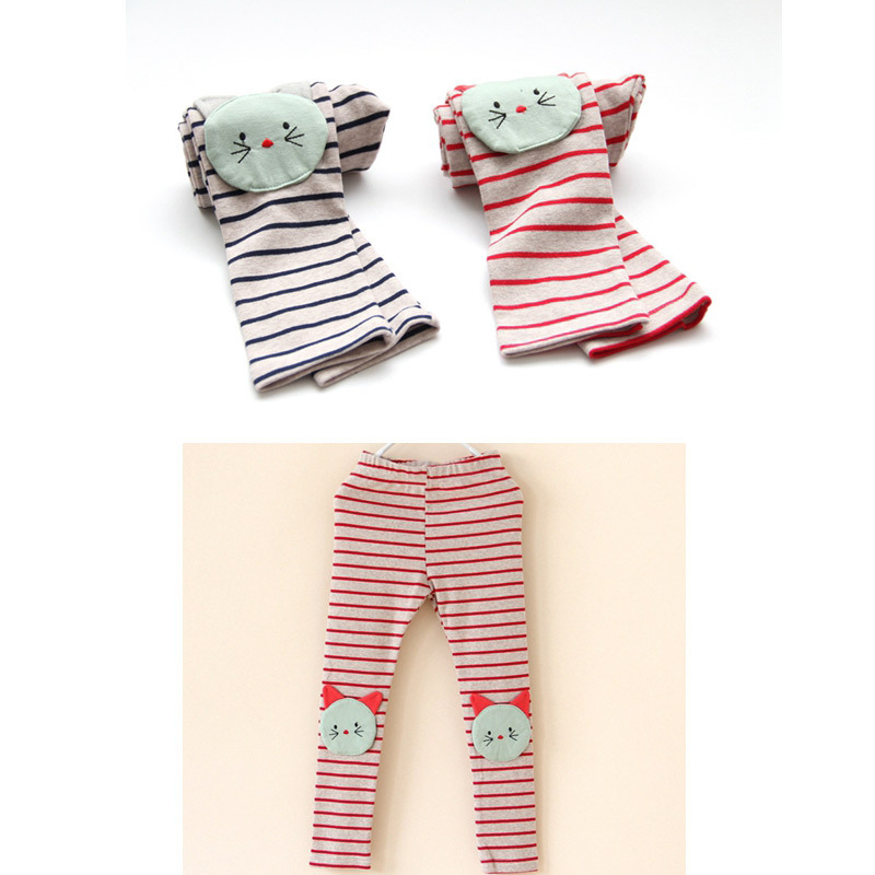 La primavera y el otoño de los niños ropa de la muchacha niños de la historieta 3D del gato remiendo de la raya del algodón de las polainas de los pantalones pantalones largos capris