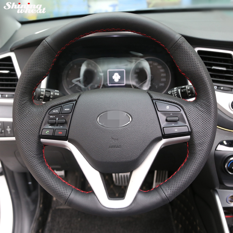 Shining wheat Hand-stitched Black Leather Car Steering Wheel Cover for Hyundai Tucson 2015 2016
