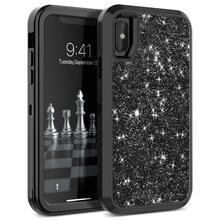 À prova de choque proteger para apple iphone xr x xs max caso híbrido armadura impacto de borracha dura bling casos de telefone para iphone 7 8 plus capa