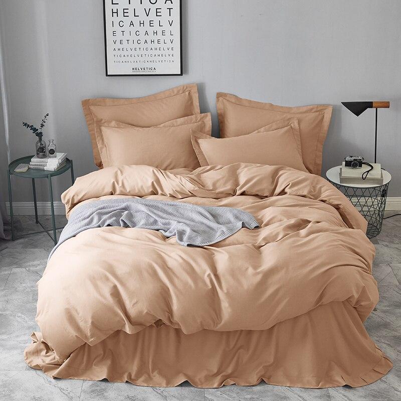 Матовый хлопковый комплект постельного белья 4 шт., Королевский размер, однотонный, бежевый, коричневый, зеленый, синий, розовый, красный, фиолетовый, современный простой домашний текстиль