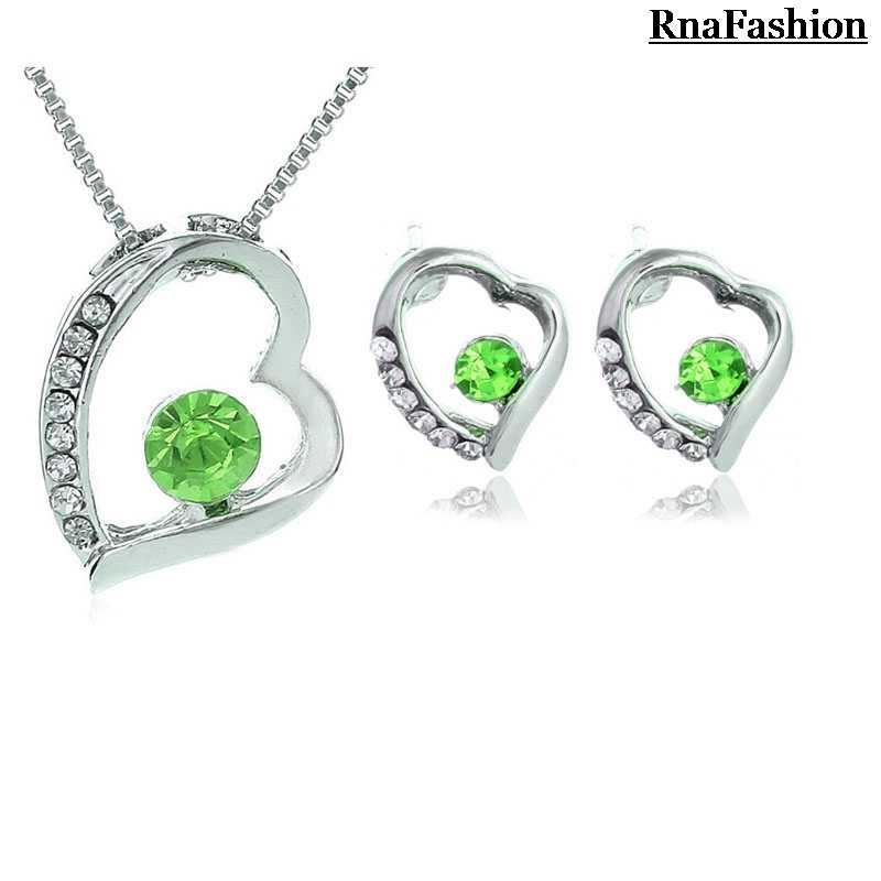 New 2014 Wholesale Austrya Crystal Jewelry Sets Heart Pendants Necklaces Stud Earring Silver Plated For Women
