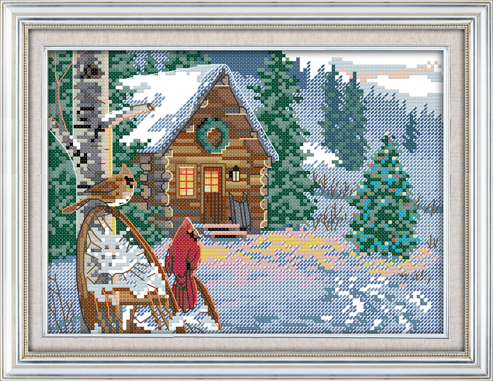 Dreampattern Winter cabin cross stitch kit 14ct Pattern printed canvas DMC embroider handmade needlework craft supplies material