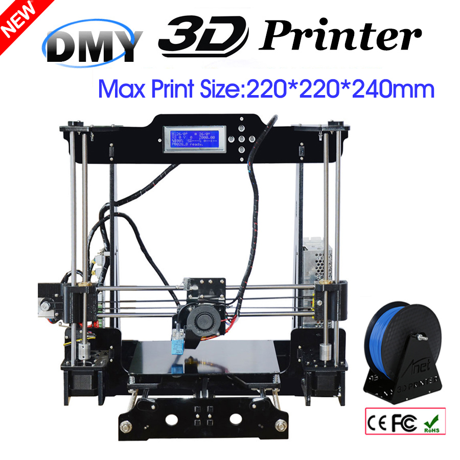 DMY Anet Auto Leveling Optional High Precision Reprap Prusa 3d printer DIY Kit With Free1Roll Filaments Aluminum Hotbed LCD Gift