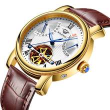 Men's watches automatic mechanical watches Tourbillon leather leisure business watch relojes HOMBRE top luxury brand AILANG