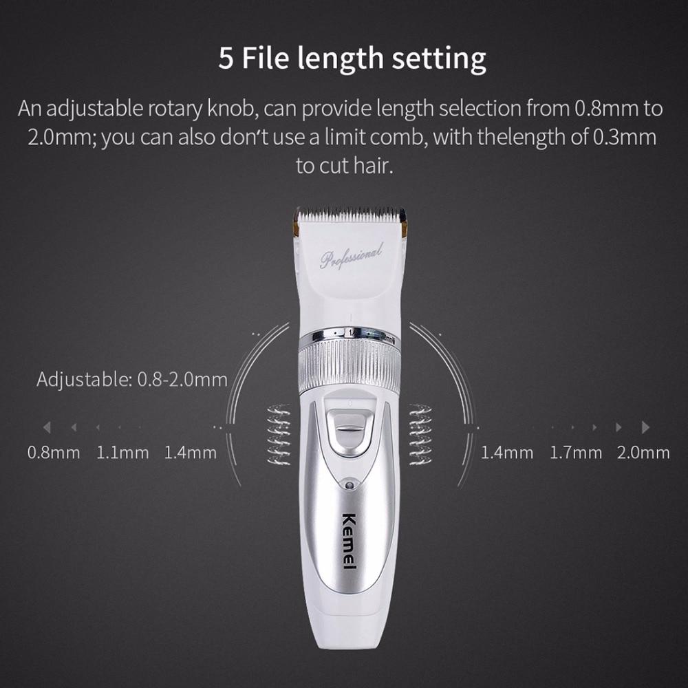 Kemei Strong Motor Powerful Durable Hair Trimmer Ceramic Titanium Alloy Hair Clippers Blade for Men Adult Haircut Machine Comb