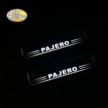 SNCN LED Door sill plate for Mitsubishi Pajero moving light scuff pedal Outside door welcome lights
