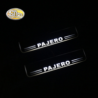 SNCN LED Door sill plate for Mitsubishi Pajero LED moving light scuff pedal Outside door sill welcome lights