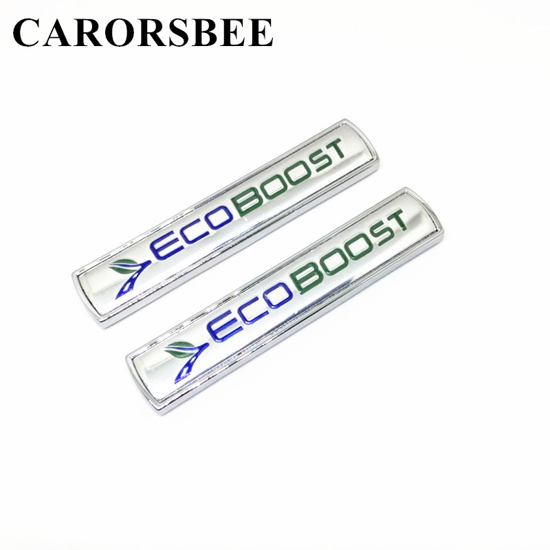 CARORSBEE 2 PCS 3D Metal Cars ECOBOOST ECO BOOST Emblem Badge Car Styling Rear Trunk Decal Sticker For F150 Taurus Mustang FOCUS auto car chrome ecoboost 2011 2013 f150 3 5l v6 dohc tivct door emblem badge sticker