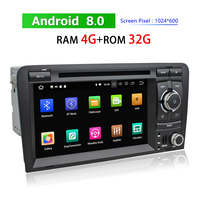 2 Din Touch Screen Car Multimedia Player for Audi A3 2003~2013 Android Auto Stereo Radio GPS Navigation Bluetooth WIFI 3G 4G TV
