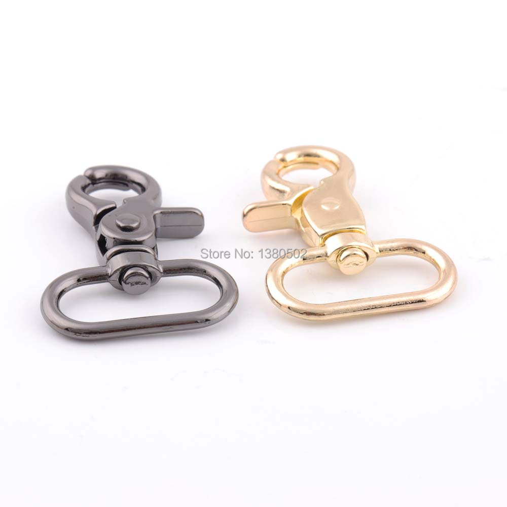 2pcs 46*26mm black and gold color Snap Hooks buckles Spring Hooks key chain for bag ...
