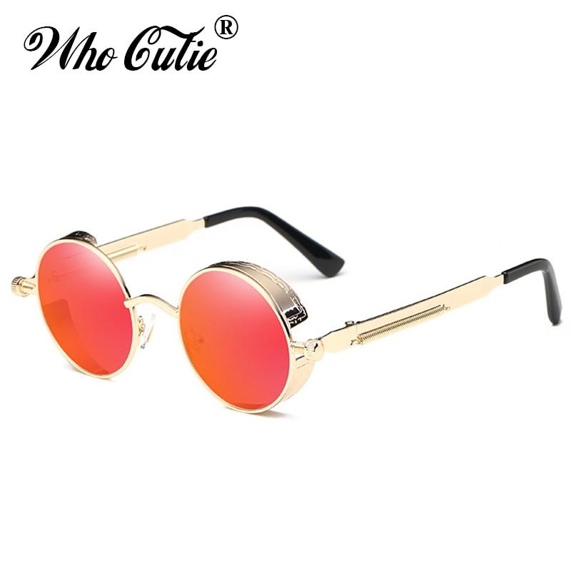WHO CUTIE 2018 Round Shades Gothic Steampunk Sunglasses Men Women Brand Designer Rose Gold Pink Mirror Punk Male Sun Glasses 418 5