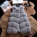 2017 Mulheres Elegantes de Inverno Casacos Outerwear Bloco de Cores Sem Mangas Sólida cor com a bolso mulheres casaco de pele falso tamanho grande 5XL