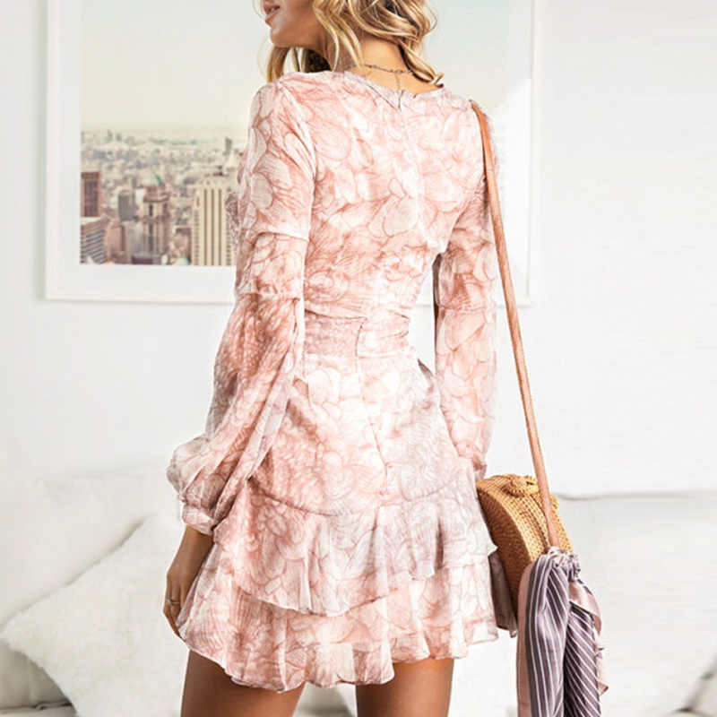 f33bbe28ae2 ... Conmoto Vintage Print Long Sleeve Dresses Female Elegant Party Short  Dresses Winter Chic Ruffles Chiffon Dress ...