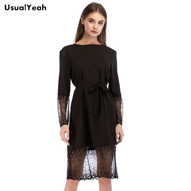 UsualYeah Women Long Sleeve Lace Patchwork Knee Length Dress Gothic Black Color Movable Tie Waist Party Dresses S M L XL