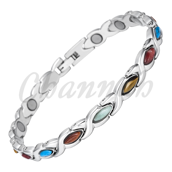 Channah 2017 Ladies Colourful Semi Precious Stones Magnetic Bracelet Stainless Steel Women Bio Free Shipping Charm