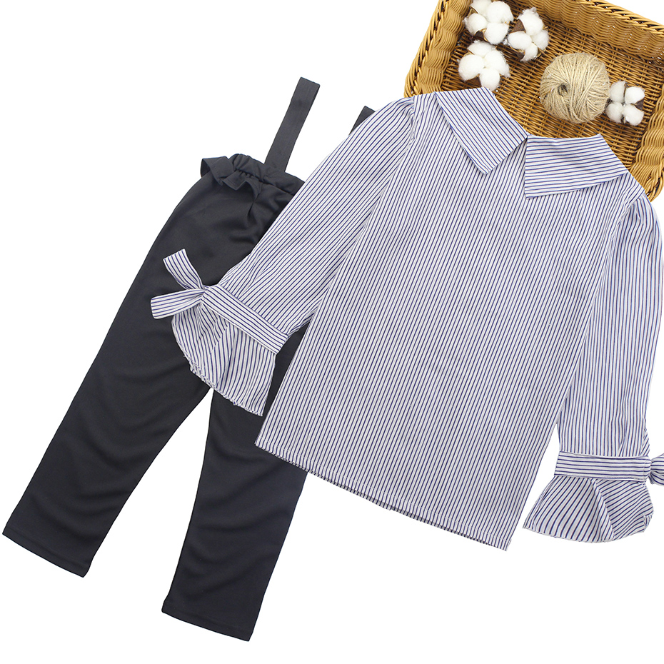 Image 2 - Girls Clothing Set Turn Down Collar Blouse + Jumpsuit 2pcs Clothes For Girls 2018 Autumn Big Girls School Clothes  6 8 10 12 13Clothing Sets   -