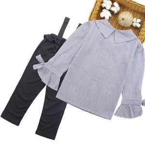 Image 2 - Girls Clothing Set Turn Down Collar Blouse + Jumpsuit 2pcs Clothes For Girls 2018 Autumn Big Girls School Clothes  6 8 10 12 13