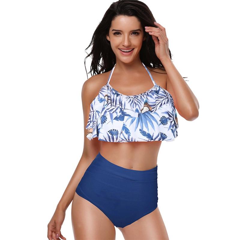 Swimwear Women Bikini 2019 Mujer High Waist Swimsuits Ruffles Bikinis Swimming Suit For Womens Push Up Bathing Suits Biquini in Bikinis Set from Sports Entertainment