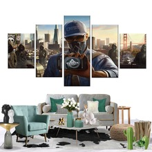 5 pieces HD Printed Watch Dog Game Poster Pictures Wall Painting for Home Decor