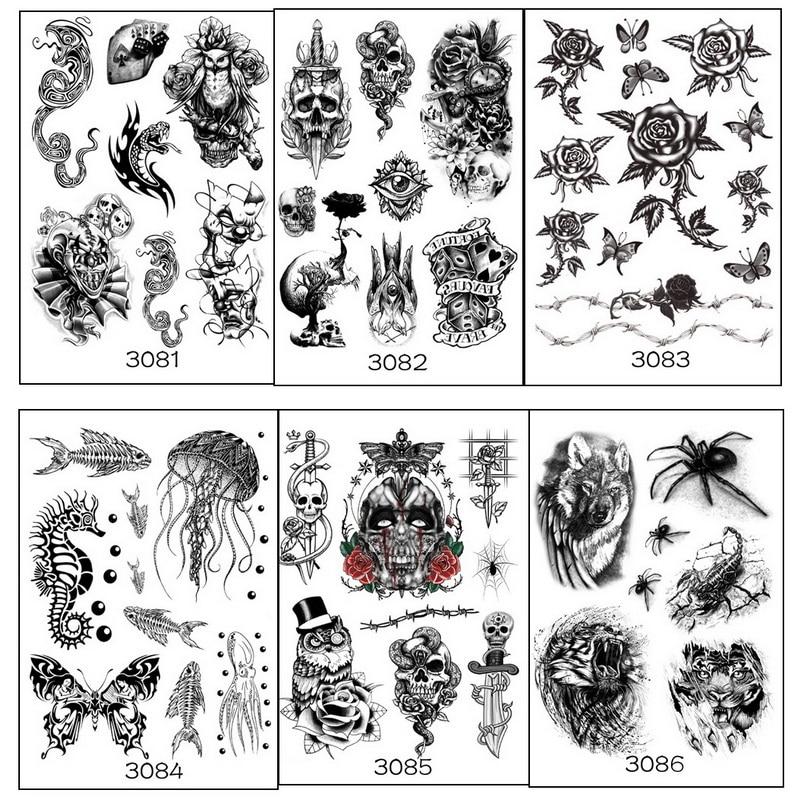 6pcs Multi style Geometric Temporary Body Tatoo Owl Wolf Birds Spider skull jellyfish Tattoo set Fake Tattoo sticker warterproof-in Temporary Tattoos from Beauty & Health on Aliexpress.com   Alibaba Group
