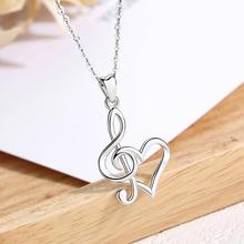 EUDORA Sterling Silver musical note Pendant Necklace Heartbeat signal Heart Women 925 silver fine Jewelry with Box D413