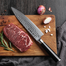 HEZHEN 8 Chef Knife Damascus Steel Kitchen Japanese VG10 Ultra Sharp Cleaver Stainless Cooking Knives Ebony Handle