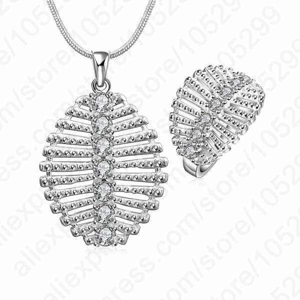 Heißer Verkauf Solide 925 Sterling Silber Zirkonia Kristall Fishbone Anhänger Halskette Ring Schmuck Sets Fantastische Geschenk Für Frau