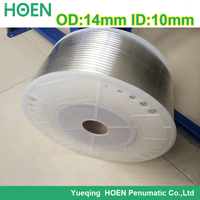 100m/lot PU14*10 14mm(OD)*10mm(ID) transparency color Pneumatic Component PU Tube Air Hose Pipe