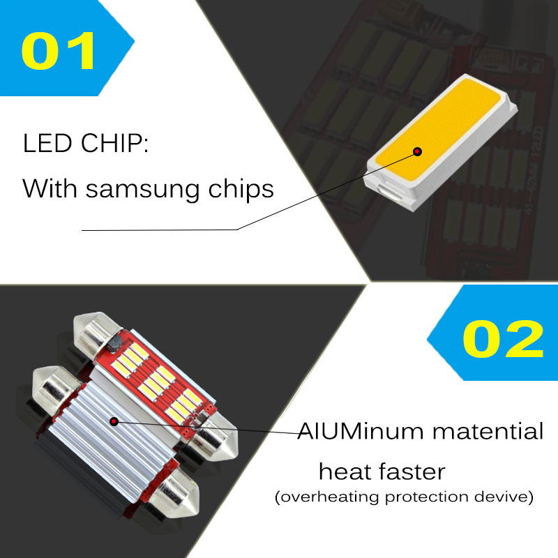 2  x  New  For BMW AUDI Mercedes VW Ford  36mm  C5W LED Festoon White Canbus Error Free License Plate Light  LED  Bulb 12V 2pcs 12v 31mm 36mm 39mm 41mm c5w canbus led auto festoon light error free interior doom lamp car styling for bmw audi benz