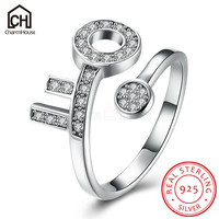 Sterling Silver 925 Jewelry Rings For Women Vintage Style Key Open Ring With Zirconia Antique Silver