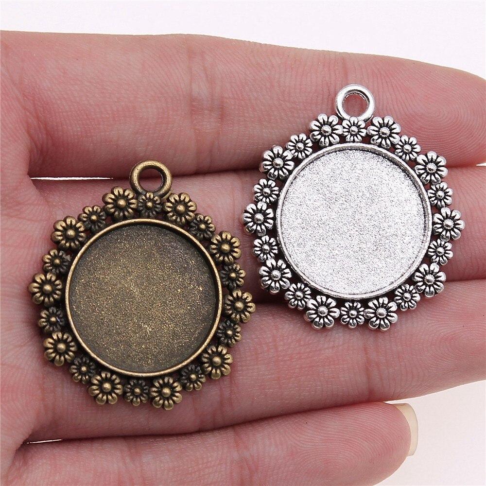 5pcs bronze tone Large sun Cabochon Base Settings charm pendants inner 12mm