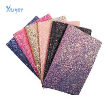 Xugar 22*30cm Chunky Glitter Fabric Synthetic Leather Sequins Patchwork Bag Shoes DIY Phone Case DIY Hairbows Handmade Crafts(China)