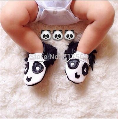 WOW Nova moda animais panda franja Genuínos Mocassins De Couro Do Bebê macio Sapatos de Bebê Primeira Walker sapatos Chaussure Bebe recém-nascidos