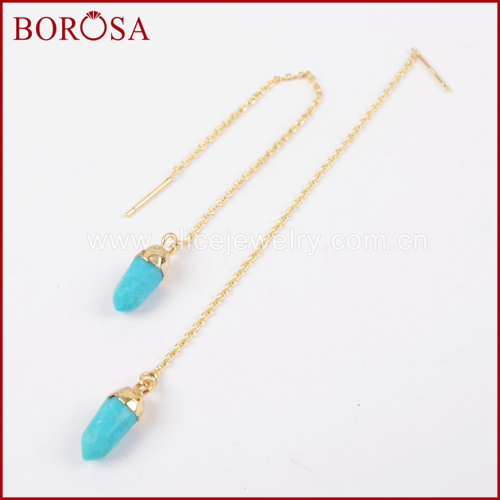 BOROSA Drusy Drop Earrings Blue Howlite Stone Drop Earring Gold Electroplated Multi Stones Tiny Spikly Thread Earrings G1309