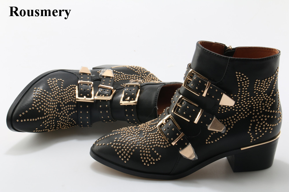 New Leather Rivets Booties Buckle Straps Thick Heel Ankle Boots Studded Decorated Motorcycle Boots Woman Riding
