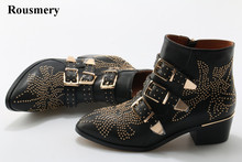 New Leather Rivets Booties Buckle Straps Thick Heel Ankle Boots Studded Decorated Motorcycle Woman Riding