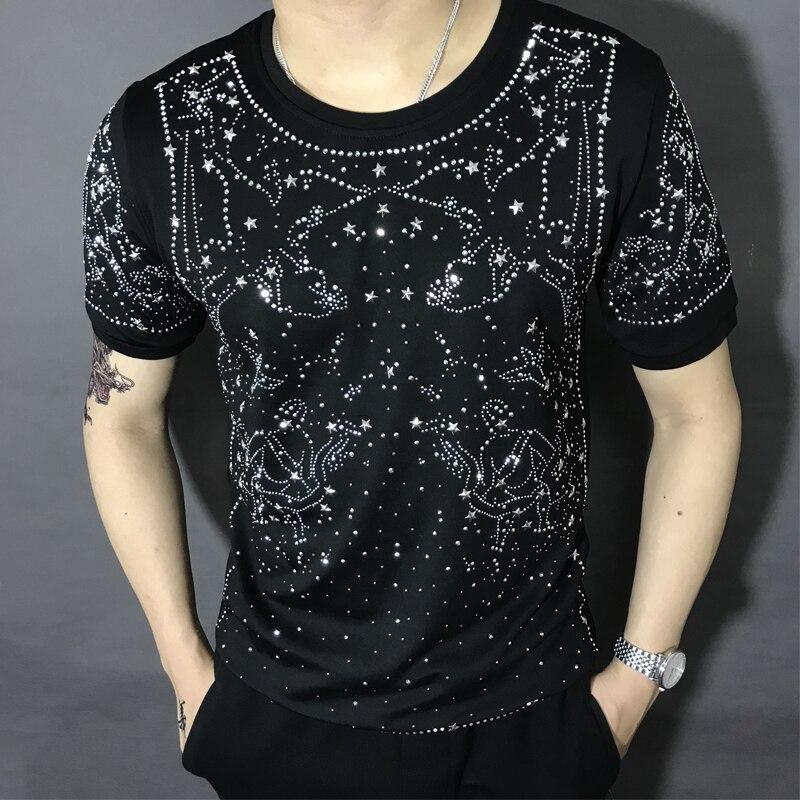 Livraison gratuite hommes strass galaxie à manches courtes noir mode t-shirt/fête/scène/bling style