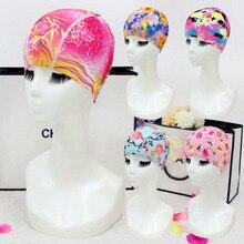 Новейшая эластичная Женская шапочка для плавания из нейлона и спандекса, шапка с принтом, свободный размер для женщин, женская пляжная шапка, шапочка для купания, 20 цветов