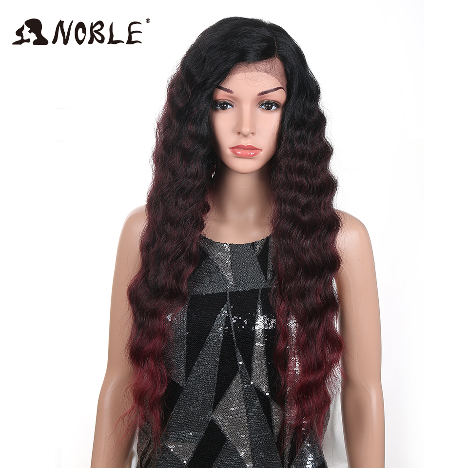 Noble Hair 28 Inch Hand Tied Black Red WIgs Deep Wavy L Parting Heat Resistant Hair Synthetic Lace Front Wigs For Black Women