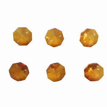 Free Shipping 500pcs/Lot ,Amber Color ,14mm Crystal Octagon Beads In 2 Holes For Garland Strand Beads