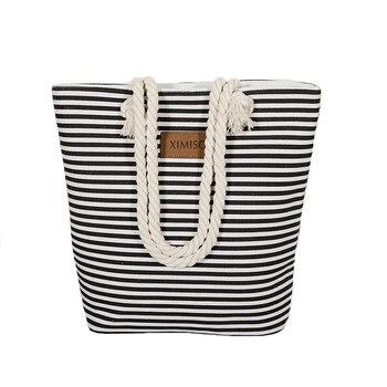Women Stripes Canvas Beach Bag Large Capacity Female Zipper Shoulder Bag Ladies Polyester Totes Girl's Casual Shopping Handbag