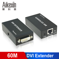 Aikexin DVI Extender,197ft DVI Extender Over Single Cat5e Cat6 Ethernet Cable Support 1080P(up to 60M, Transmitter + Receiver)