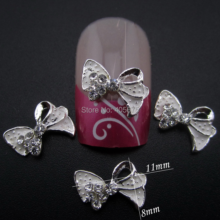186 10 De Descuento10 Uds Arcos Blancos Arte De Uñas 3d Diamantes De Imitación Aleación Brillante Encantos Para Decoración De Uñas Accesorios De