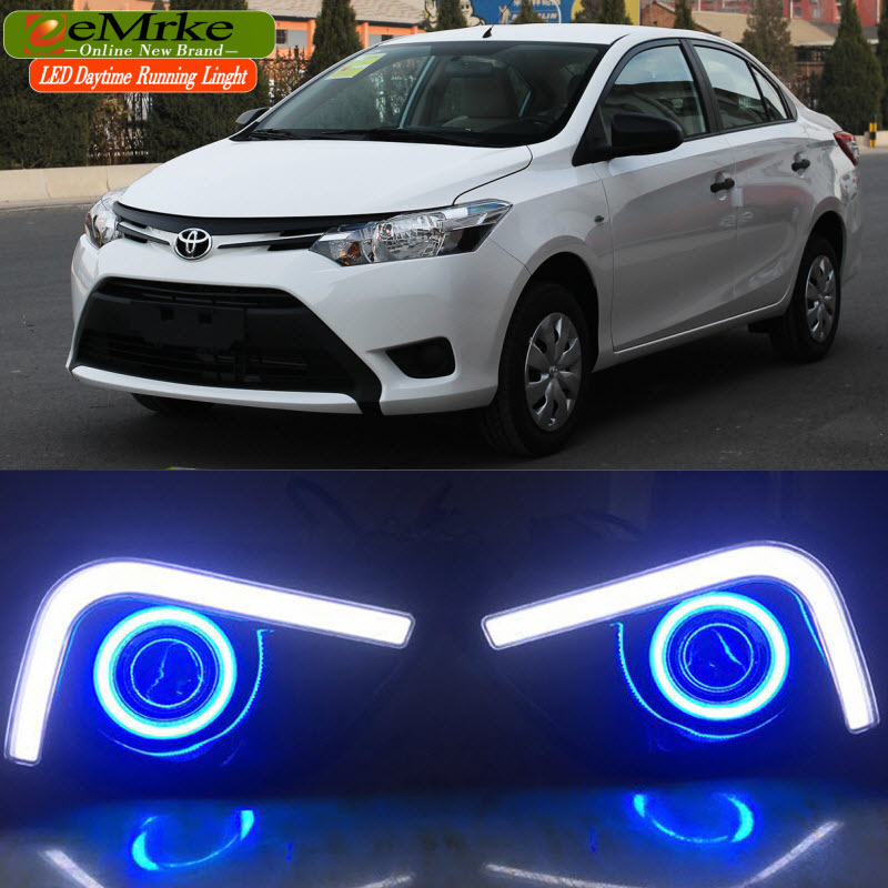 EEMRKE LED Daytime Running Lights For Toyota Yaris 2014 -2016 Angel Eyes DRL Fog Lights Lamp H3 55W Halogen Bulbs Kits лампочка филипс 007054 b1s 35w e1 04j dot 9285 141 294