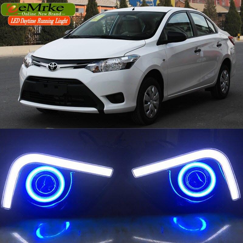 EEMRKE LED Daytime Running Lights For Toyota Yaris 2014 2016 Angel Eyes DRL Fog Lights Lamp H3 55W Halogen Bulbs Kits